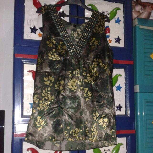 Dress Hijau Motif Bunga