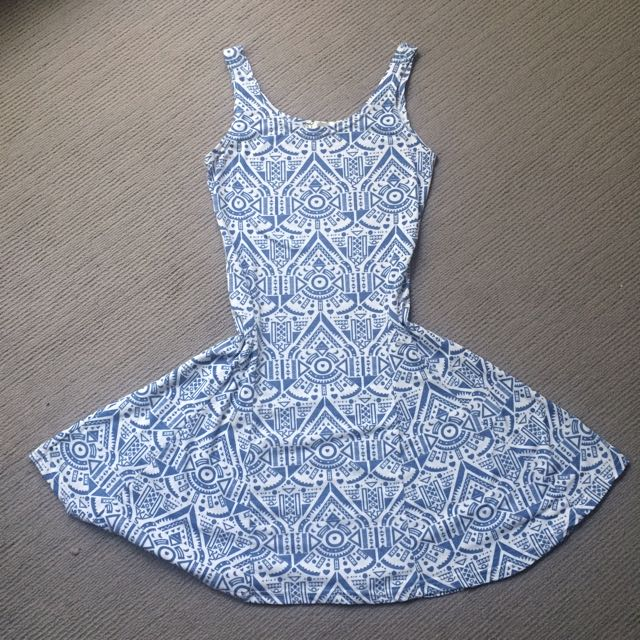 Light Blue Aztec Print Dress - Size Small