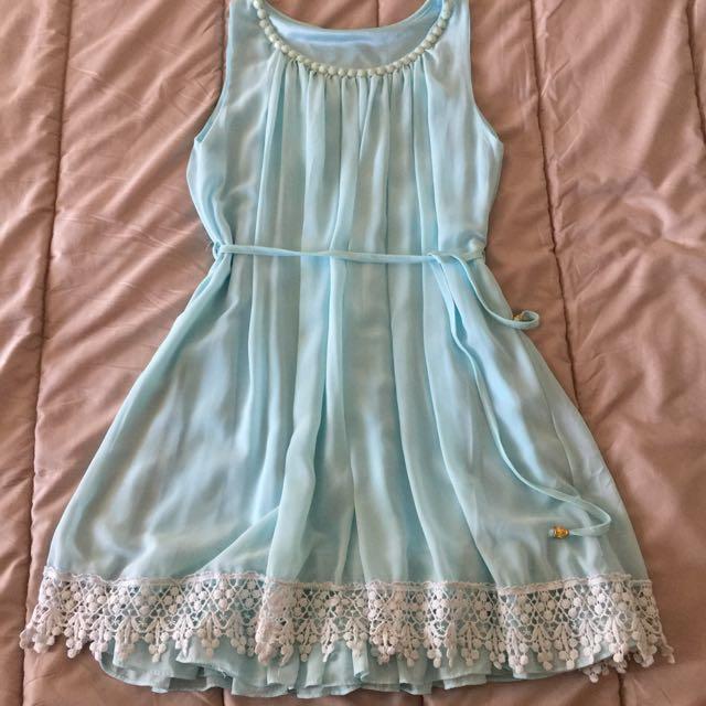 Light Blue Chiffon Dress Size 8