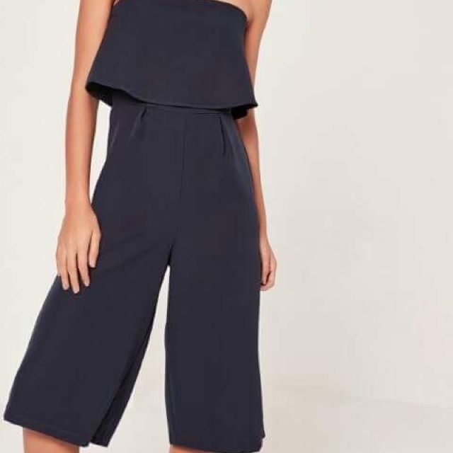 misguided crepe layer culotte jumpsuit Navy