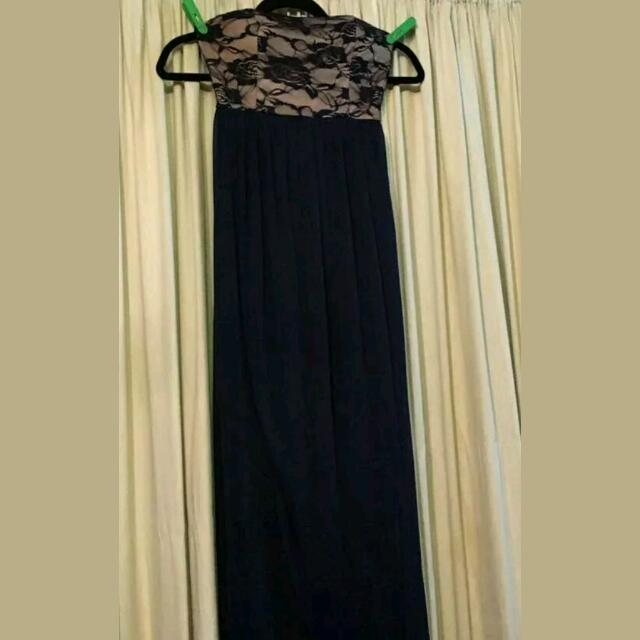Navy Blue Maxi Dress Sheer Strapless XS-S