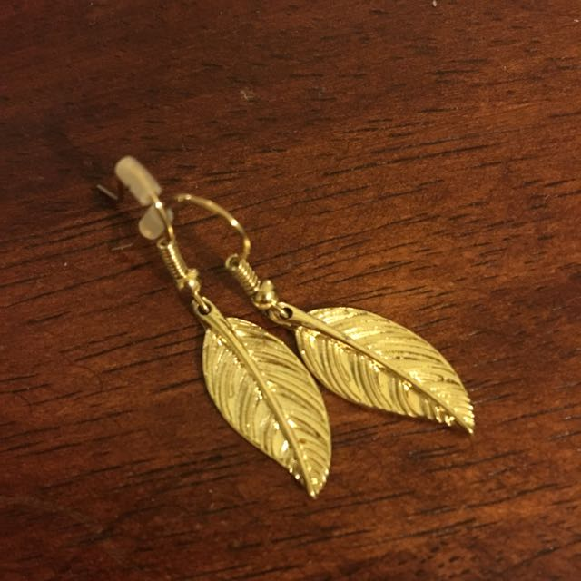 Pair Of Gold Feather Earrings.