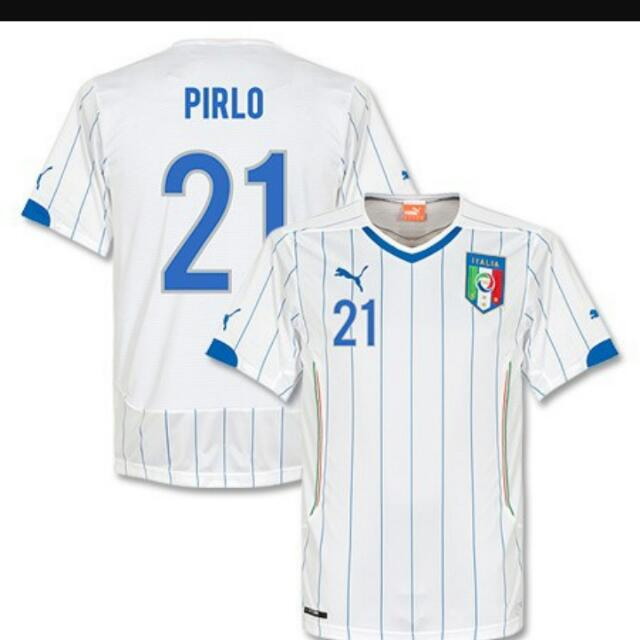 Puma Andrea Pirlo  21 Italy 2014 World Cup Large White Away Soccer Jersey f965aef65