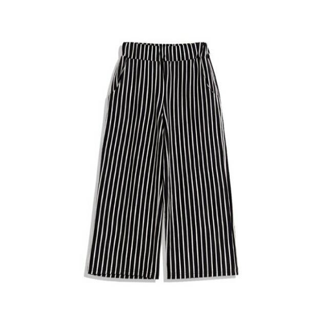 Queenshop細直條紋鬆緊八分寬褲
