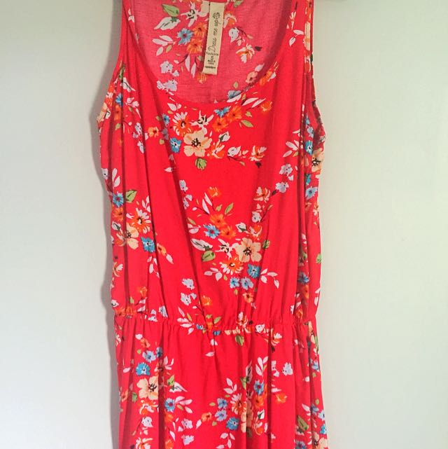 Size Small Red Floral Summer Dress