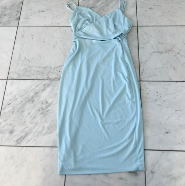 Sky Blue Crepe Dress Size 8