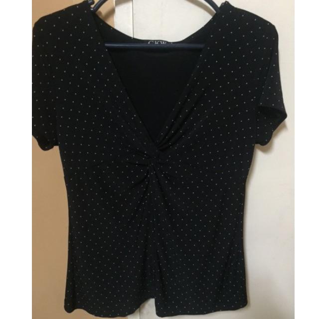 Stretch black dotted top (medium)