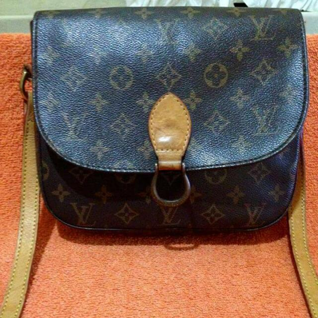 Vintage Lv Cloud Monogram Genuine Leather Sling Bag