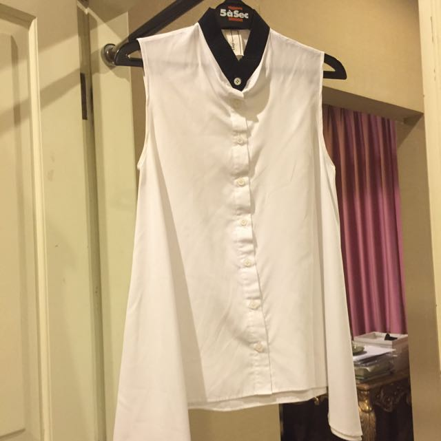 White Button Up With Black Collar