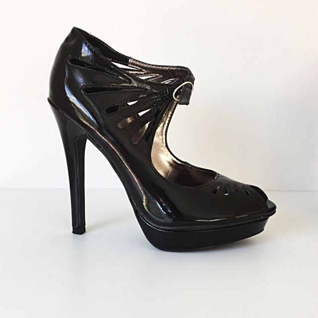 Zu Patent Black Platform Heels