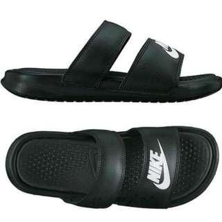 Nike Benassi Duo Ultra Slide 女 黑 白 兩條 海棉 運動 拖鞋