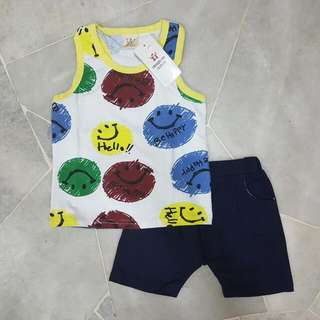 (5 SET) [SIZE 20~22] 2 PCS SET SLEEVELESS TOP + BERMUDA ( CODE 415 )