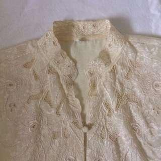 Mandarin collar lace blouse