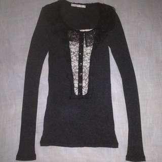 TURUN TURUN!! Black Top Knit Brukat Free ongkir