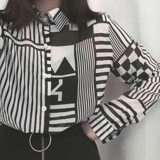 ‼️SALE‼️黑白併色雪紡恤衫外套
