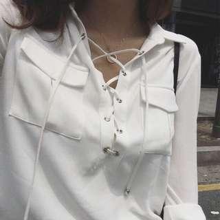 ‼️SALE‼️綁帶V領雪紡恤衫
