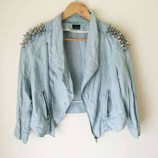 Bardot 'Studded Crop Denim Jacket'