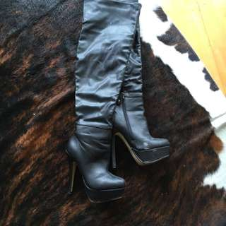 Black Leather Over The Knee Boots Size 7