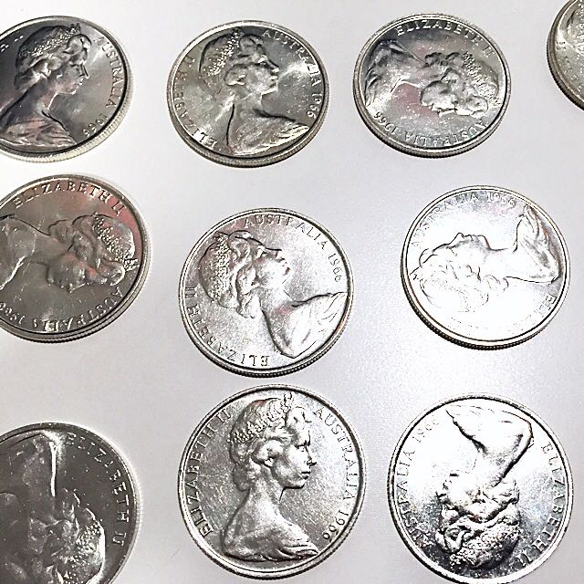 11x Australian Round 1966 50 Cent Coins
