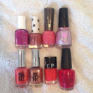 Pink and Red Nail Polishes