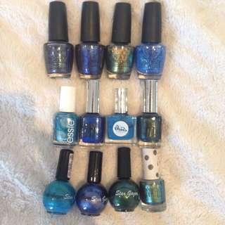 Blue and Green Nail Polishes