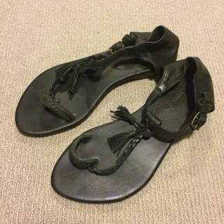 Black Leather Fashion sandal