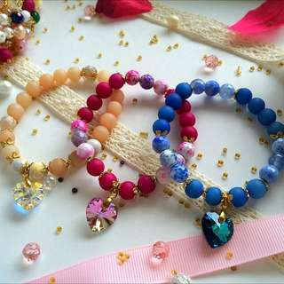Exclusive! Handmade Agate with Swarovski Crystal Bracelet