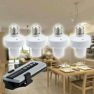 E27 Screw Wireless Remote Control Light Lamp Bulb Holder 1 and 4 Cap Socket Switch  Pm : 92325050