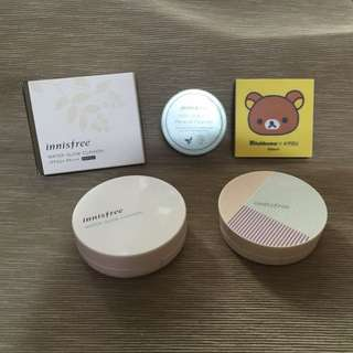 innisfree 控油蜜粉、霧感水感粉餅+替芯、拉拉熊眼影盤