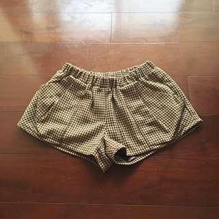 DURAS咖啡色系千鳥格短褲