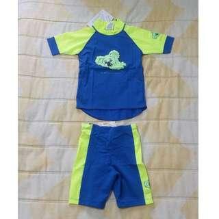BN Stingray Kids S/S Swimming Top + Shorts (Blue/Yellow)