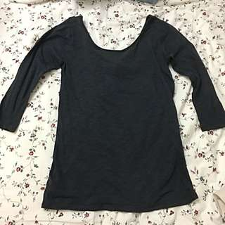 Mango Dark Navy Blue 3/4 Sleeves Tee Shirt