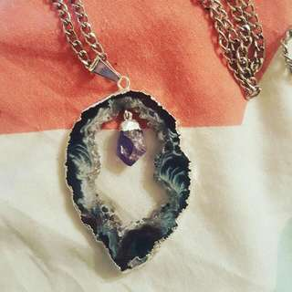 Agate Slice Pendant With Amethyst Point