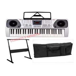 Davis D-606 Electronic Keyboard (Silver) with Stand and Keyboard Bag