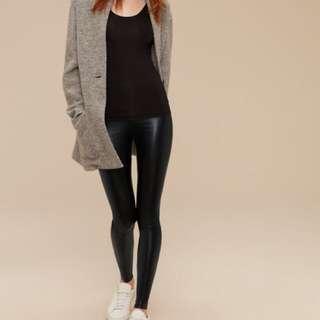 Black Daria Wilfred Aritzia Vegan Leather Leggings