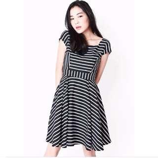 Aforarcade AVA Swing Dress In Black Stripes, S