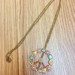 歐美帶回 寶石 和平 粉紅 土耳其藍 長項鍊