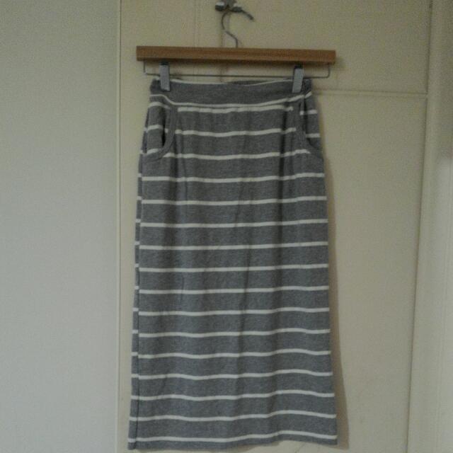 全新棉9分長裙(灰)