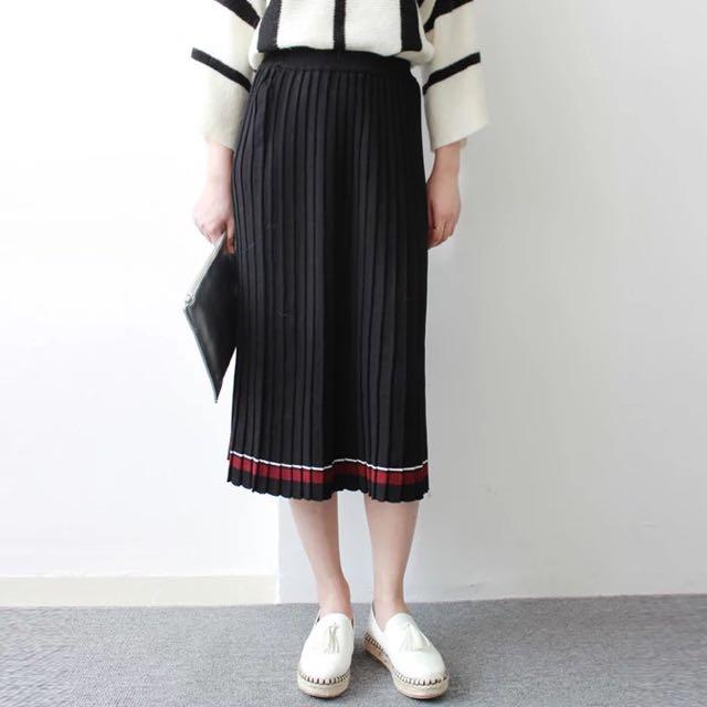 全新韓版針織百摺裙