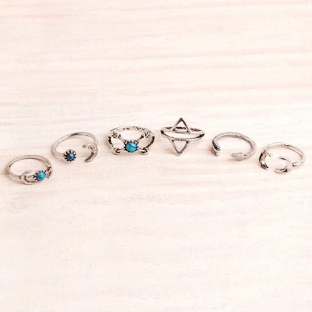 藍彩石戒指組 波希米亞