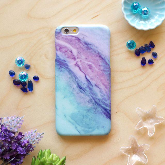 仙藍紫雲彩大理石//原創手機殼- iPhone, HTC, Samsung, Sony,oppo, LG 磨砂硬殼/全包軟殼