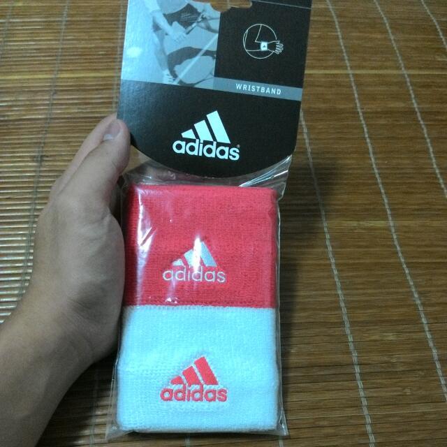 Adidas護腕 wristband紅/白