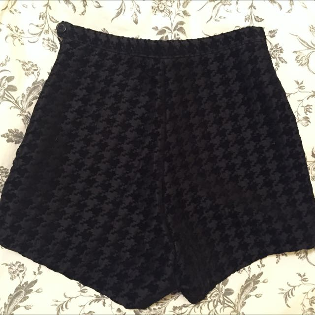American Apparel High-Waisted Houndstooth Tap Shorts