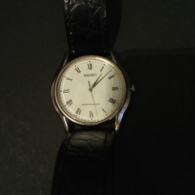 Authentic Seiko Watch Leather Stripe