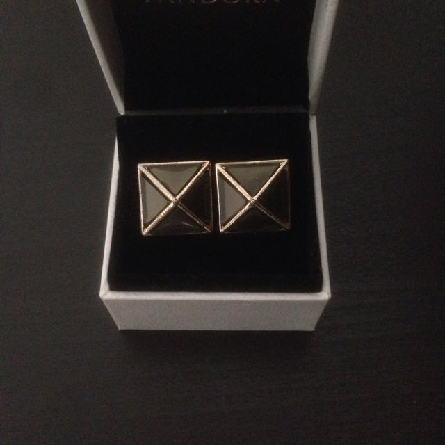 Black And Gold Pyramid Stud Earrings