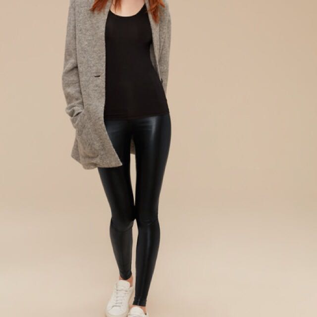 Black Daria Wilfred Aritzia Vegan Leather Leggings