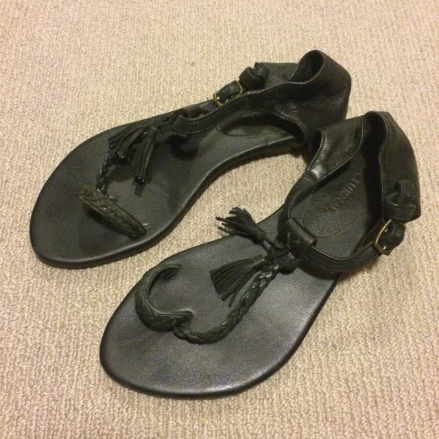 Black Leather Fashion sandal