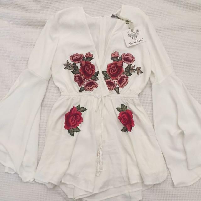 Brand New Angel Biba White Rose Playsuit