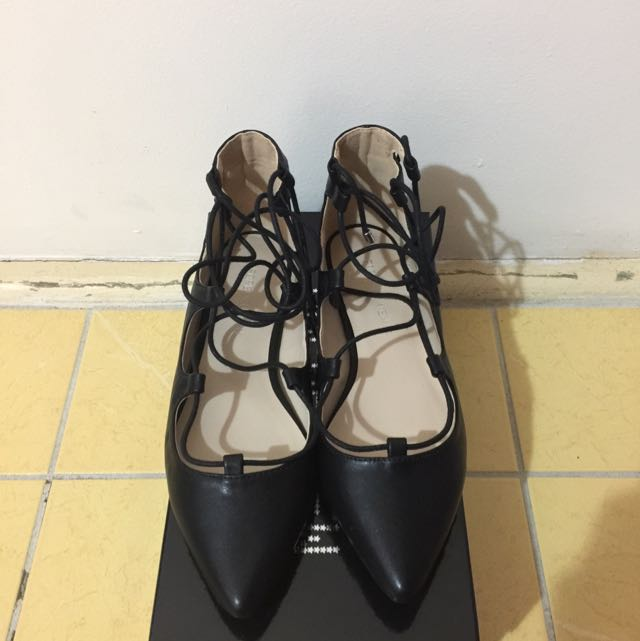 *Brand New* Forever New Black Gracie Ghillie Pointed Ballets Flat