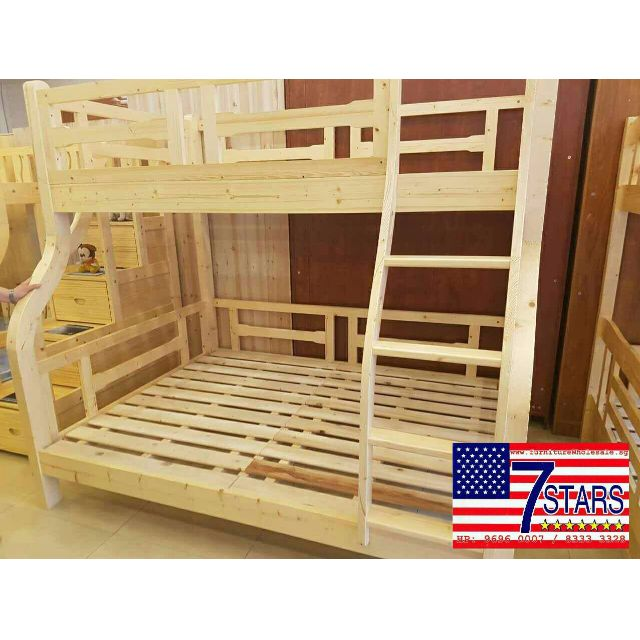 Brand New Solid Wood Bunk Bed Super Single Size Top Queen Size